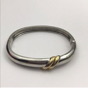 Vintage Simple Silver Gold Bangle Bracelet